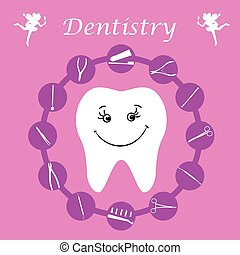 Background, teeth, dental instruments, dental care