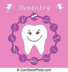 Background, teeth, dental instruments, dental care