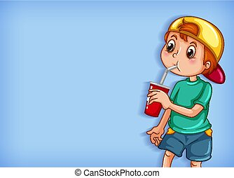 Background template design with boy drinking from cup