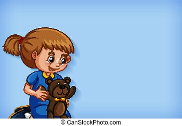 Background template design with girl and teddybear ...
