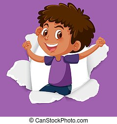 Background template design with happy boy on purple paper