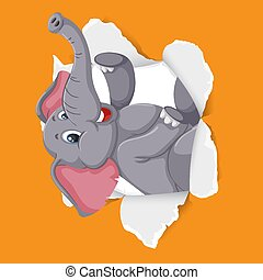 Background template design with wild elephant on orange paper