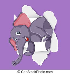Background template design with wild elephant on purple paper