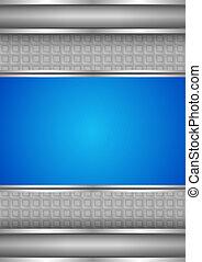 Background template, metallic texture, blue blank. Vector...