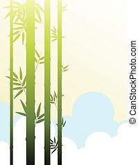 Background template with bamboo in the clouds