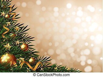 Background template with christmas tree and ornaments