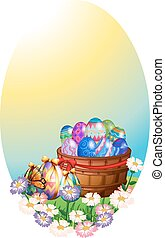 Background template with easter eggs in basket