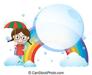 Background template with girl and rainbow