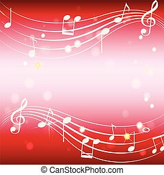 Background template with musicnotes on red