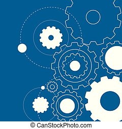Background template with white gears on blue