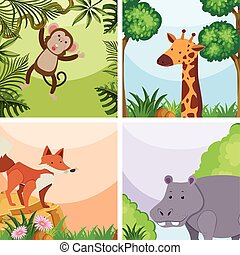 Background template with wild animals in forest