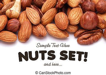 Background texture of assorted mixed nuts including cashew ...
