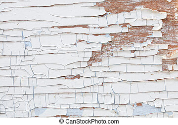 Background texture of old wood with peeling paint