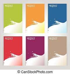 background texture vector six frame Green, orange, red, blue, purple, brown and banner paintbrush