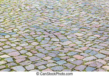 background texture with cobblestone pavement