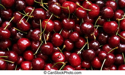 Background top view of cherries rotating - Background top...