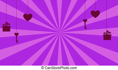 Background twirl with animation key, love, and gift. Happy Valentine day