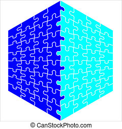 Background Vector Illustration Jigsaw Puzzle cube