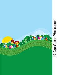 Background, village, poster - brochure, illustration