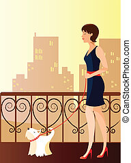 is a ilustracion of a woman walking with a dog, available as a vector in adobe ilustrador EPS format, can be moved or edit individually. The document size is 220x297 mm.