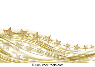 Background white and gold with gold - Golden waves and star...