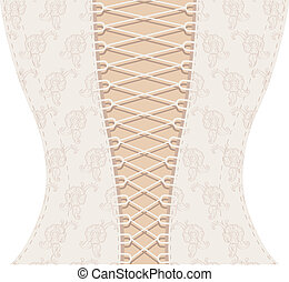 Background white corset with ribbon