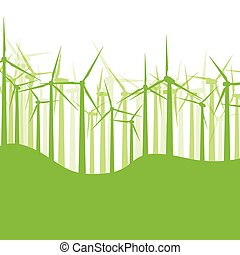 Background wind turbines vector illustration concept nature motion