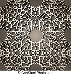 Background with 3d seamless pattern in Islamic style . ,...