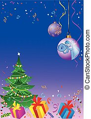 Background with a Christmas tree an