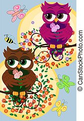 Background with a cute owls sitting on the branch