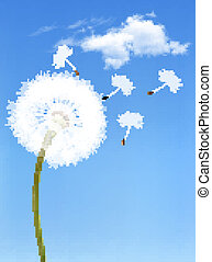 Background with a dandelion in front of a blue sky. Vector.