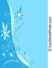 background with a flower arrangement in a blue