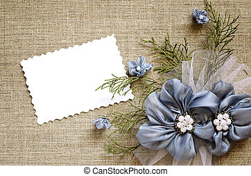 Background with a flower decoration and a card