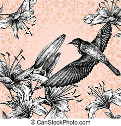Background with a flying bird and b
