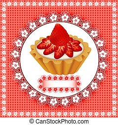 background with a fruity dessert cake with strawberries -...