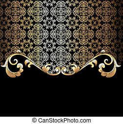 background  with a gold vegetative ornament