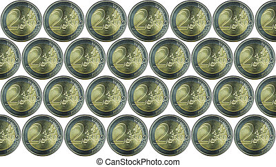 Background with a lot of European currency 2 Euro coins. Isolated on a white background.