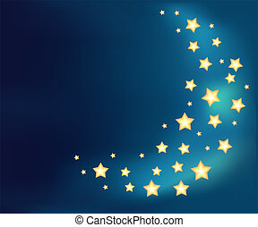 Background with a moon made of shiny cartoon stars. Template...
