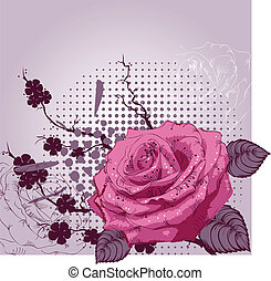 Background with a pink rose