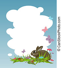 Background with a rabbit on the lawn