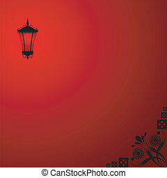 Background with a red lantern