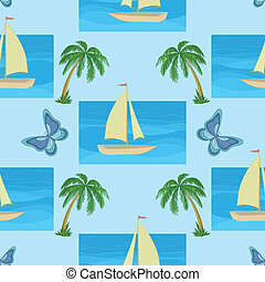 Background with a ship, palms and butterflies
