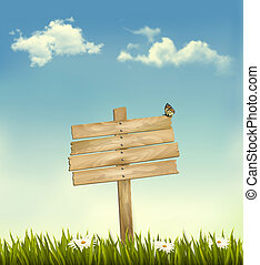Background with a sign. Vector.