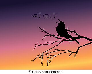 Background with a silhouette of a singing bird - a simple...