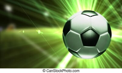 Background with a soccer ball. Soccer ball with bright green rays.