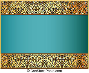 background with a strip with Celtic pattern of gold