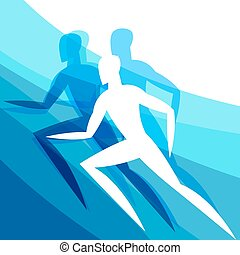 Background with abstract stylized running men. Sport concept for advertising, branding, illustration