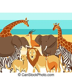 Background with African savanna animals. Stylized...
