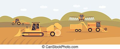 Background with agricultural machinery works in field, flat vector illustration.