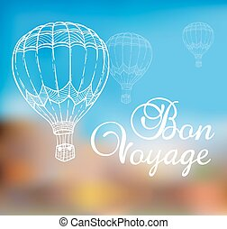 Background with air balloon flying in the blue sky. Hand drawn vector illustration.
